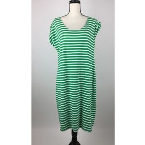 Talbots Womens Dress X-Large Green Striped A13-09Z